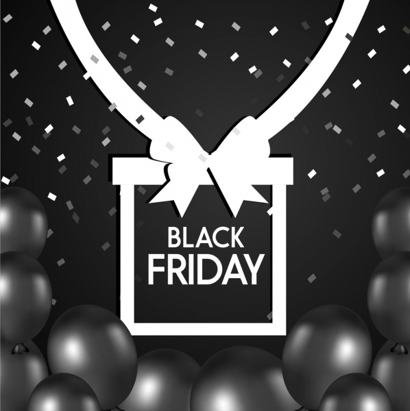 black friday sales banner black white ornament