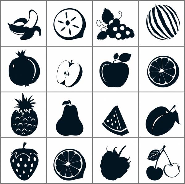Black Fruit Icons