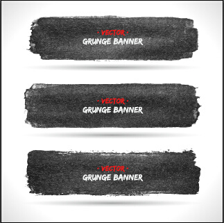 black ink grunge banner vector set