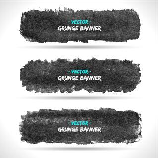 black ink grunge banner vector set