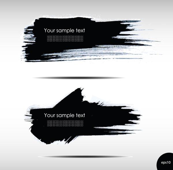 black ink grunge banners design vector