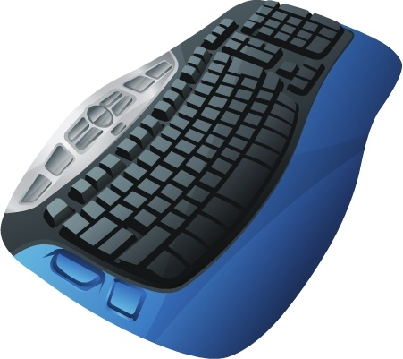 black key board with blue border