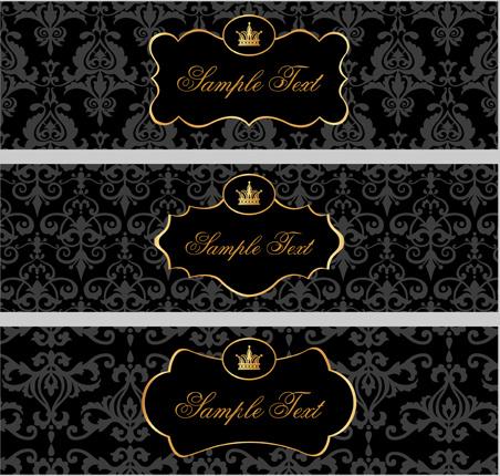 black pattern floral banner vector set