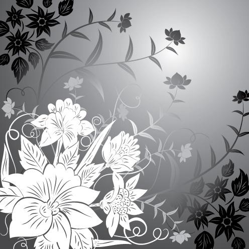nature background flower icons black white decor