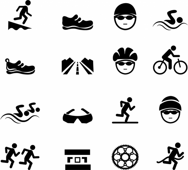 Black Triathlon Icons