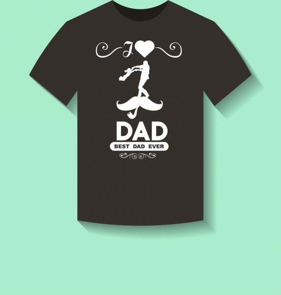 black tshirt decoration love dad motif white silhouette