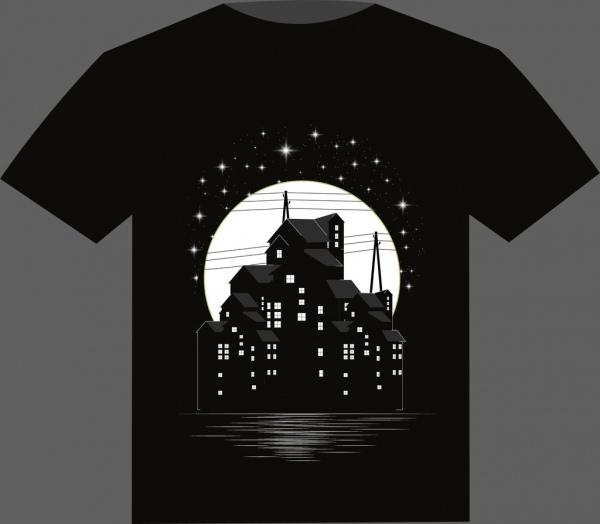 black tshirt design buildings moonlight sparkling stars decor