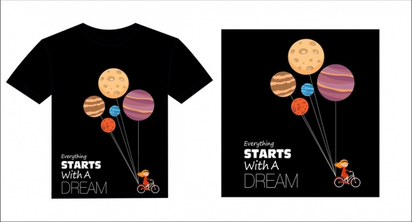 black tshirt template dream style girl planets decor free vector in