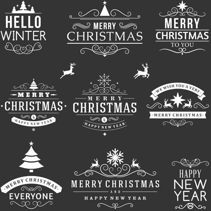 Black White Christmas Vintage Labels Vector