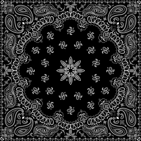 black with white bandana patterns design vector free vector in