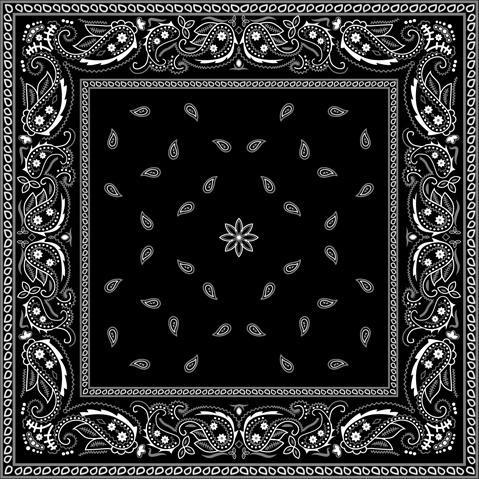 Black With White Bandana Patterns Design Vector Free