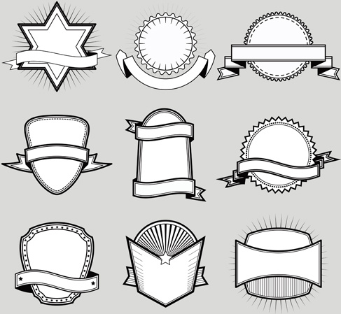 black with white blank labels vector set