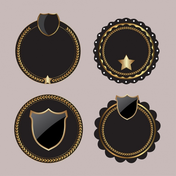 blank badges templates shiny black circles isolation