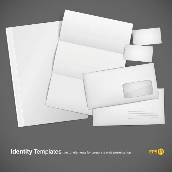 blank cards envelopes stationery vector