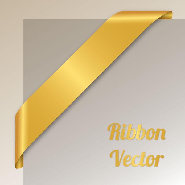 blank golden corner ribbon