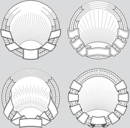 blank laurel wreath labels vintage vector