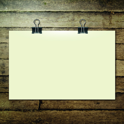 blank paper and paper clip background vector