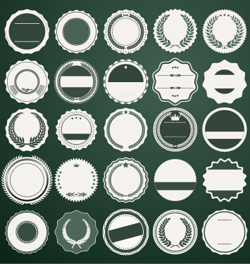 blank round labels vintage style vector