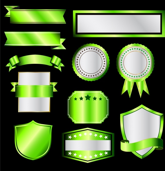 blank sales badges sets shiny green shapes isolation