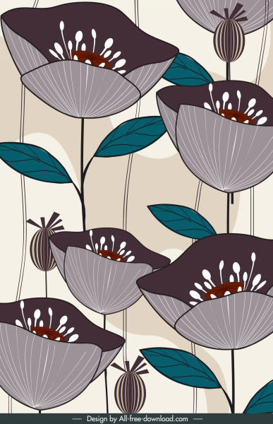 blooming flower painting colored retro handdrawn