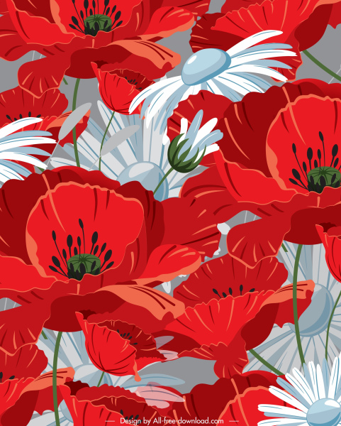 blooming flowers painting red white classical closeup decor