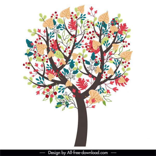 blossom tree icon colorful flat handdrawn sketch