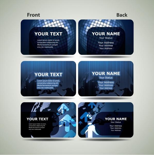 business cards templates modern dark blue global decor