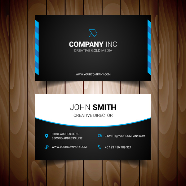 Blue and black elegant business card free vector in encapsulated blue and black elegant business card reheart Choice Image