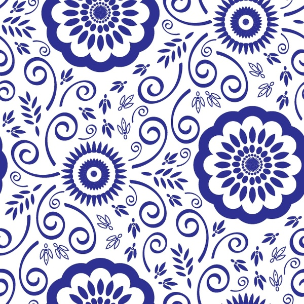 decorative pattern classical blue flat flowers sketch