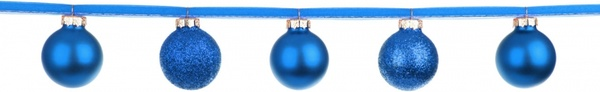 blue baubles on a ribbon