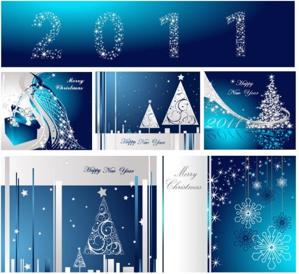 Blue christmas postcard template vector Free vector in Encapsulated ...