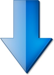 Blue down arrow Free icon in format for free download 18.73KB