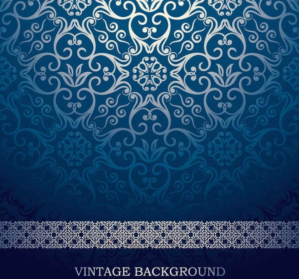 Blue European pattern vector background Free vector in Encapsulated