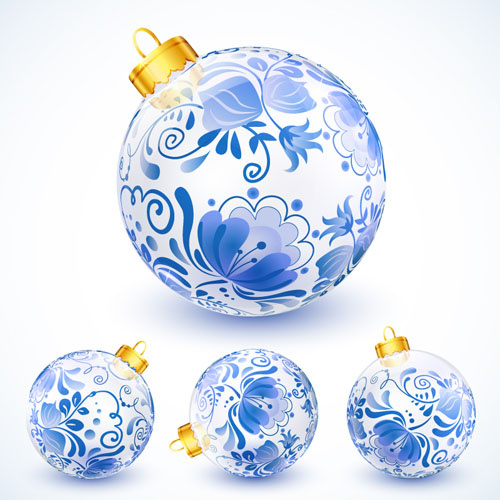 blue floral christmas ball creative vector