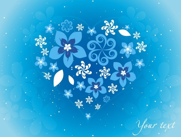 love background heart layout flowers icons blue decor