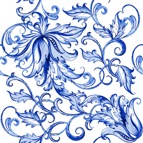 Shepherd Gold On Blue Silhouette Ornament: Blue Floral Free Vector Download (14,707 Free Vector) For