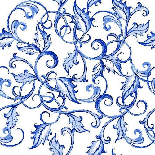 blue floral ornaments vector backgrounds