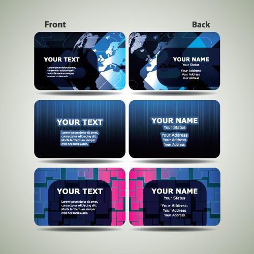 Blue Futuristic Business Card Design Vector Free Vector In