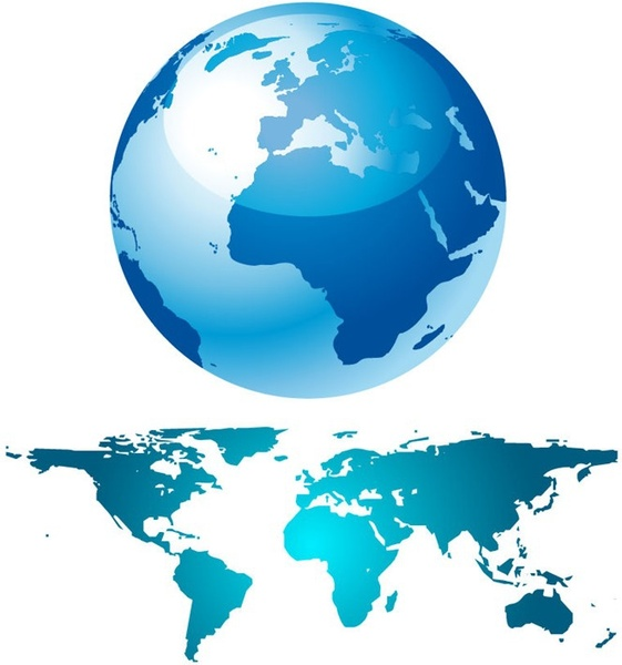 Blue globe and world map free vector in encapsulated postscript eps blue globe and world map free vector 53504kb gumiabroncs Gallery