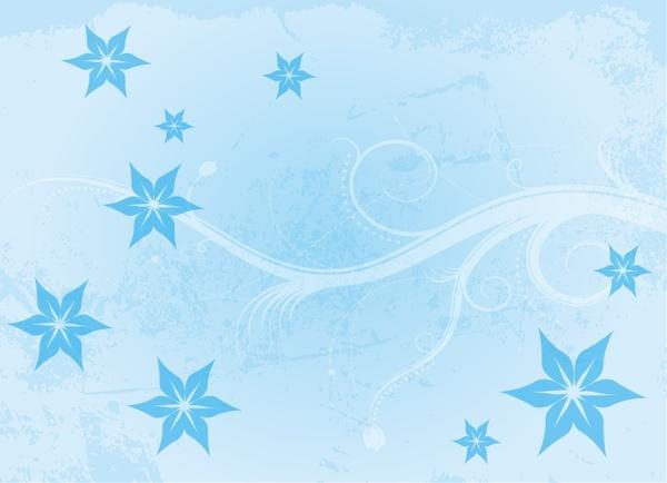 blue flowers background symbol elements grunge curves design