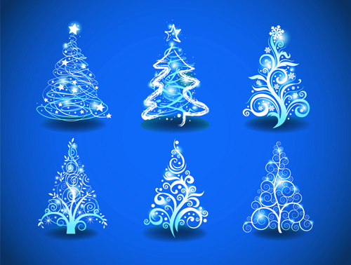 blue light christmas trees design vector