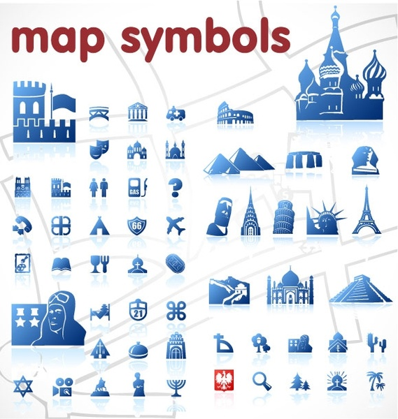 blue map symbol vector