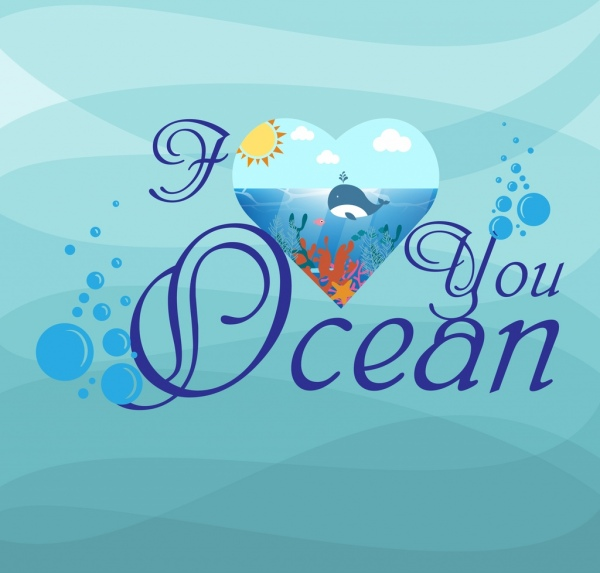 blue ocean background calligraphic texts decoration heart icon