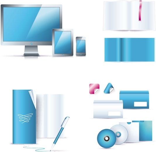 blue office equipment 01 vector