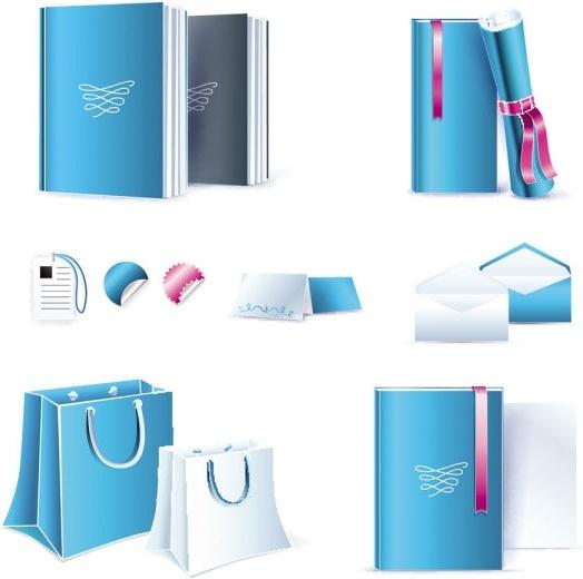 blue office equipment 02 vector