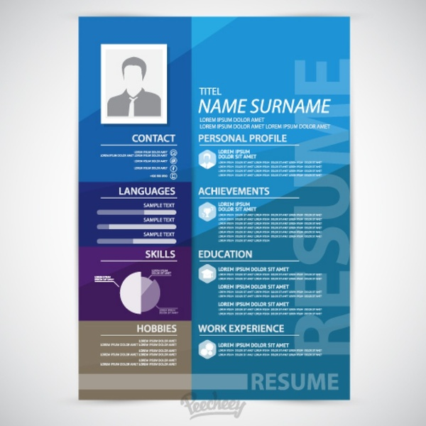 Blue Resume Template Free Vector In Adobe Illustrator Ai