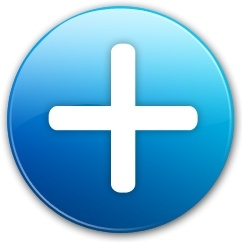 Blue rounded cross sign