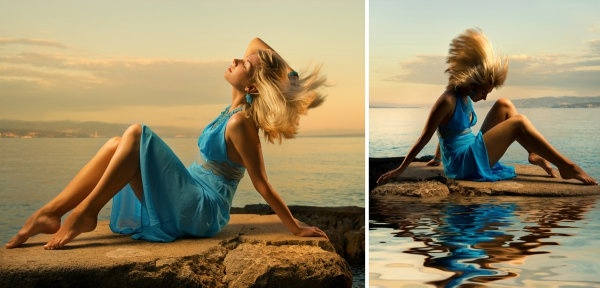 blue skirts woman seaside style highdefinition picture