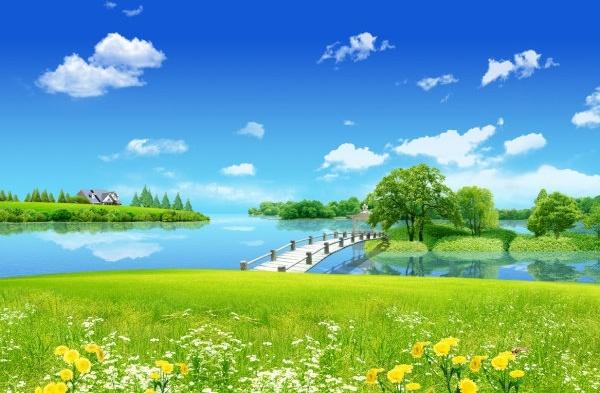blue sky grass yellow bridges psd