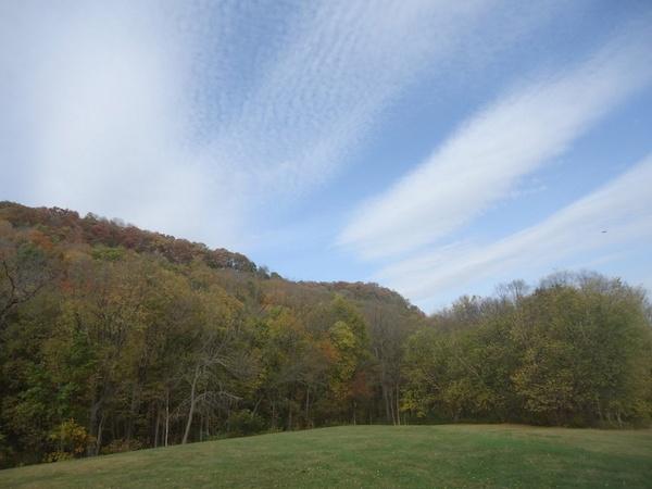 blue sky over effigy mounds